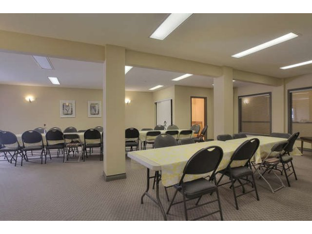 There are two large social rooms in the A building.. One has a kitchen and can be rented.