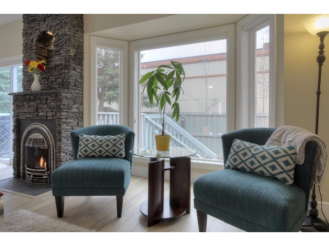 The bay window in the living area can be used for a dining space if you prefer.