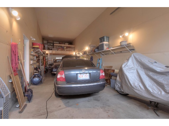 The large RV Garage has 48.5 ft of length, 14 ft wide and is 12 ft high. Note the mezzanine at the end of the garage.