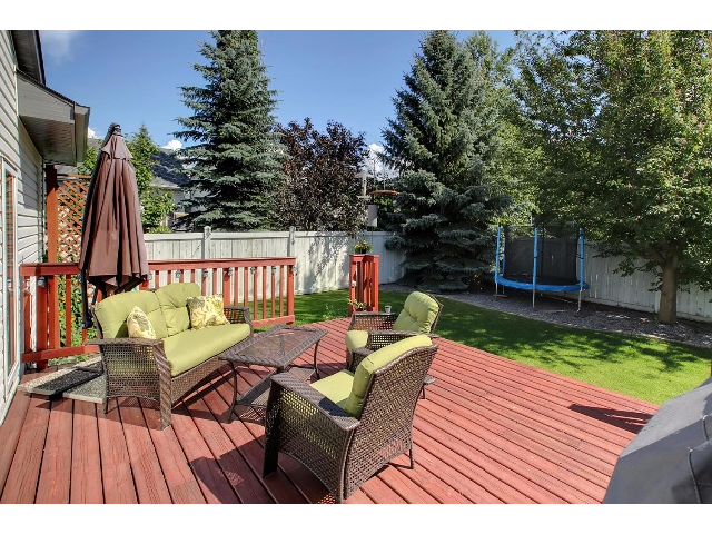 The deck is large and well maintained. There is plenty of space for all your outdoor furniture.